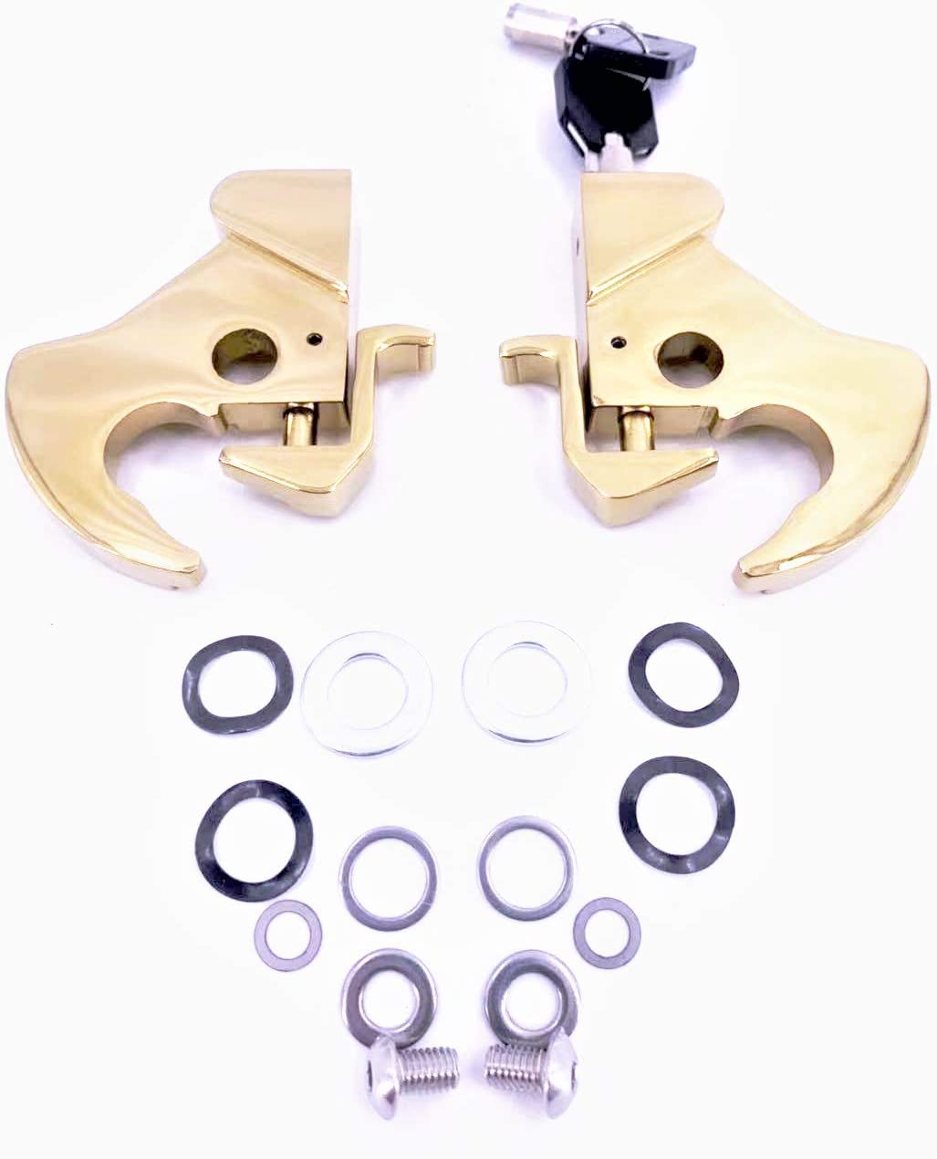 Gold, 2 latches /& both with keys Locking Detachable Latch Kit Rotary Docking Latch Cam Lock Kit with Screw Caps for Harley Davidson HD Dyna Softail Sportster Touring Sissy Bar Luggage Rack