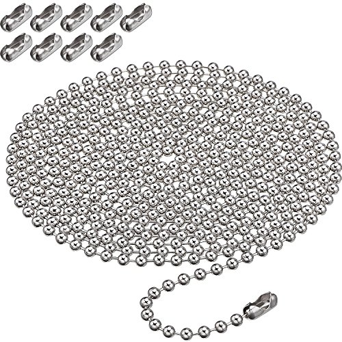 Shappy Beaded Pull Chain Extension with Connector, 10 Feet Beaded Roller Chain with 10 Matching Connectors (4.5 mm, Silver)
