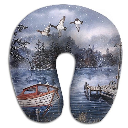 U-Shaped Pillow Neck Shoulder Body Care Watercolor Painting Lake And Woods Snow Health Soft U-Pillow For Home Travel Flight Unisex Supportive Sleeping by Godfery (Image #1)
