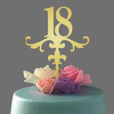 Acrylic Cake Topper, Mirror Gold Number 18 Cake Topper, Ideal for 18th Birthday or Anniversary Celebration: Toys & Games