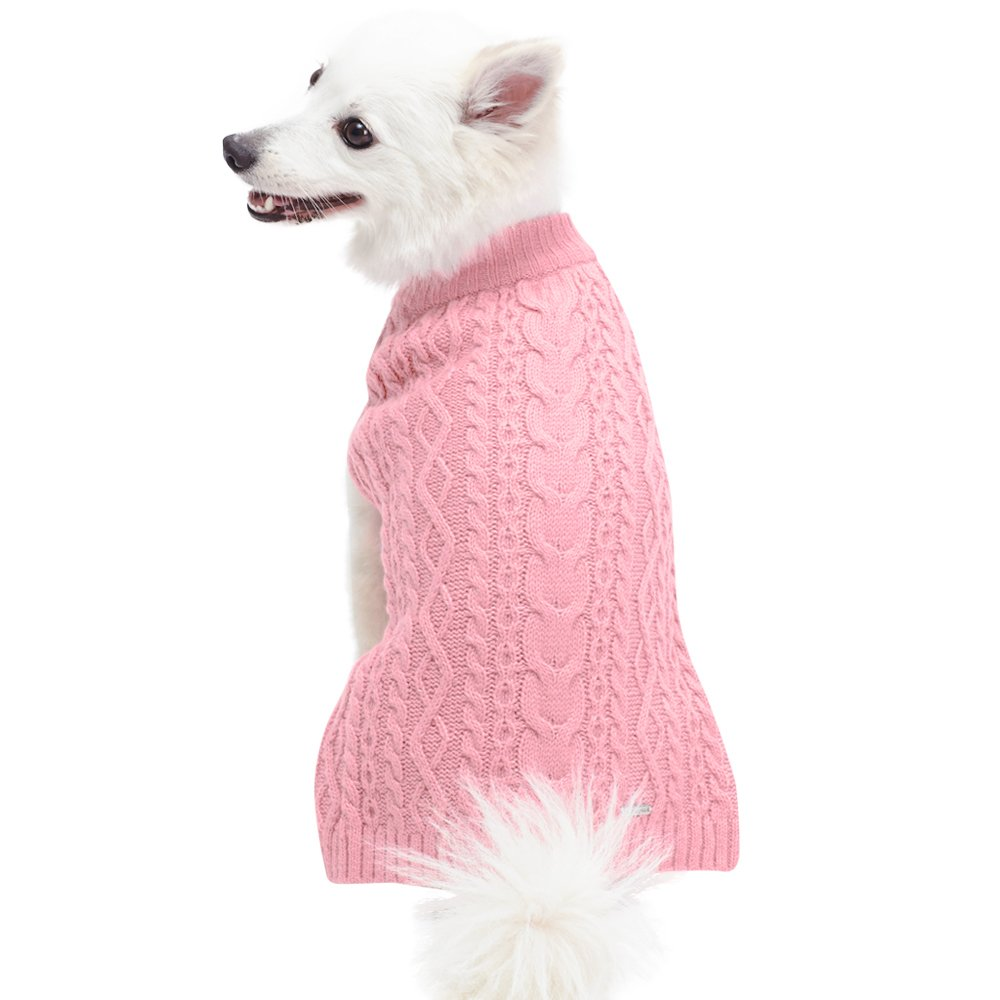 Blueberry Pet 16 Colors Classic Wool Blend Cable Knit Pullover Dog Sweater in Muted Pink, Back Length 22'', Pack of 1 Clothes for Dogs by Blueberry Pet