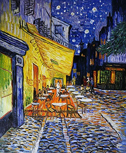 - Handmade home office wall decor Vincent van Gogh Cafe Terrace at Night Oil painting on canvas Holiday Christmas Gift