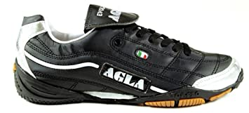 AGLA Evolution Top 1 – Zapatillas de fútbol Sala Indoor, Negro/Plata, 29