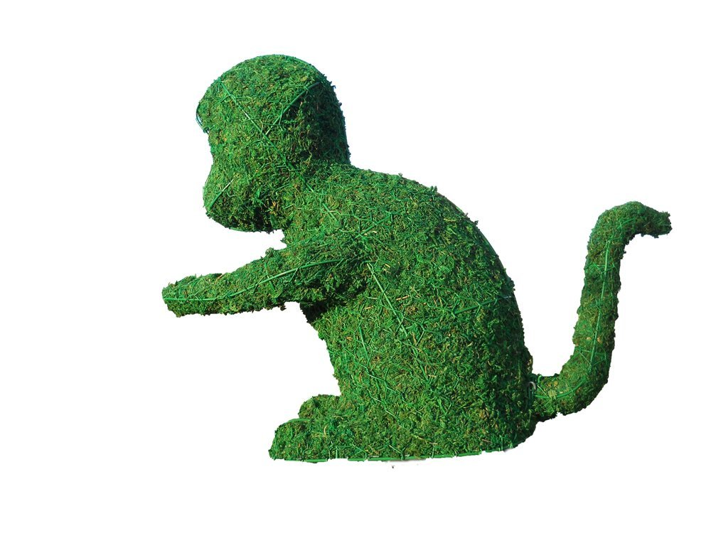 Monkey 8 inches high w/ Moss Topiary Frame, Handmade Animal Decoration