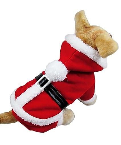 mixmax pet puppy dog christmas clothes santa claus jumpsuit coat hoodie doggy christmas giftsanta - Large Dog Christmas Outfits
