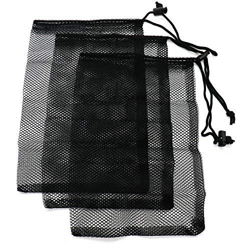 HUELE 3 Pcs 12×7.5 inch Drawstring Nylon Mesh Nets Bag Large 45 Golf Balls Slide Buckle Black