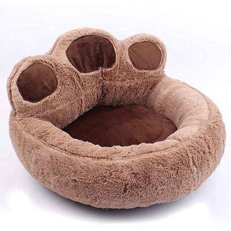 LA VIE Cama Sofá Redondo para Mascotas Forma de Garra Cesta Linda de Perros con Cojín Extraíble Casa Cama Nido Cómoda para Gatos y Perros M en Marrón