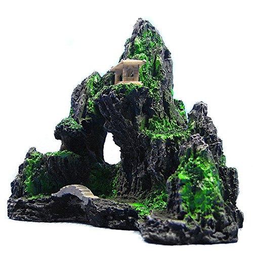 Metallic Bear Grass (Mountain View Aquarium Ornament Rock Cave Stone Bridge Tree Fish Tank Decoration)