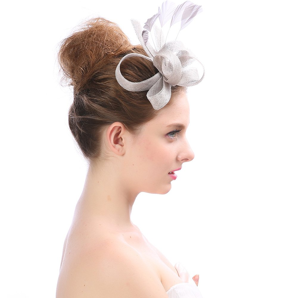 Women's Vintage Fascinators Hat Flower with Clip for Wedding Bridal Headware Church Cocktail Party Headdress by Hoxekle (Image #5)