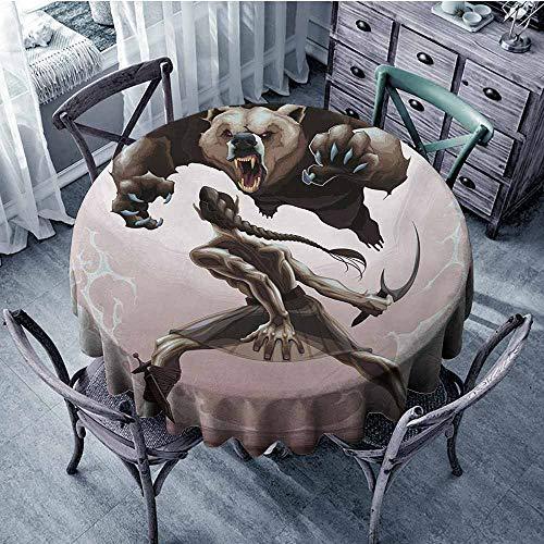 Sumilace Bear Round Tablecloths Mythological Scene Concept of