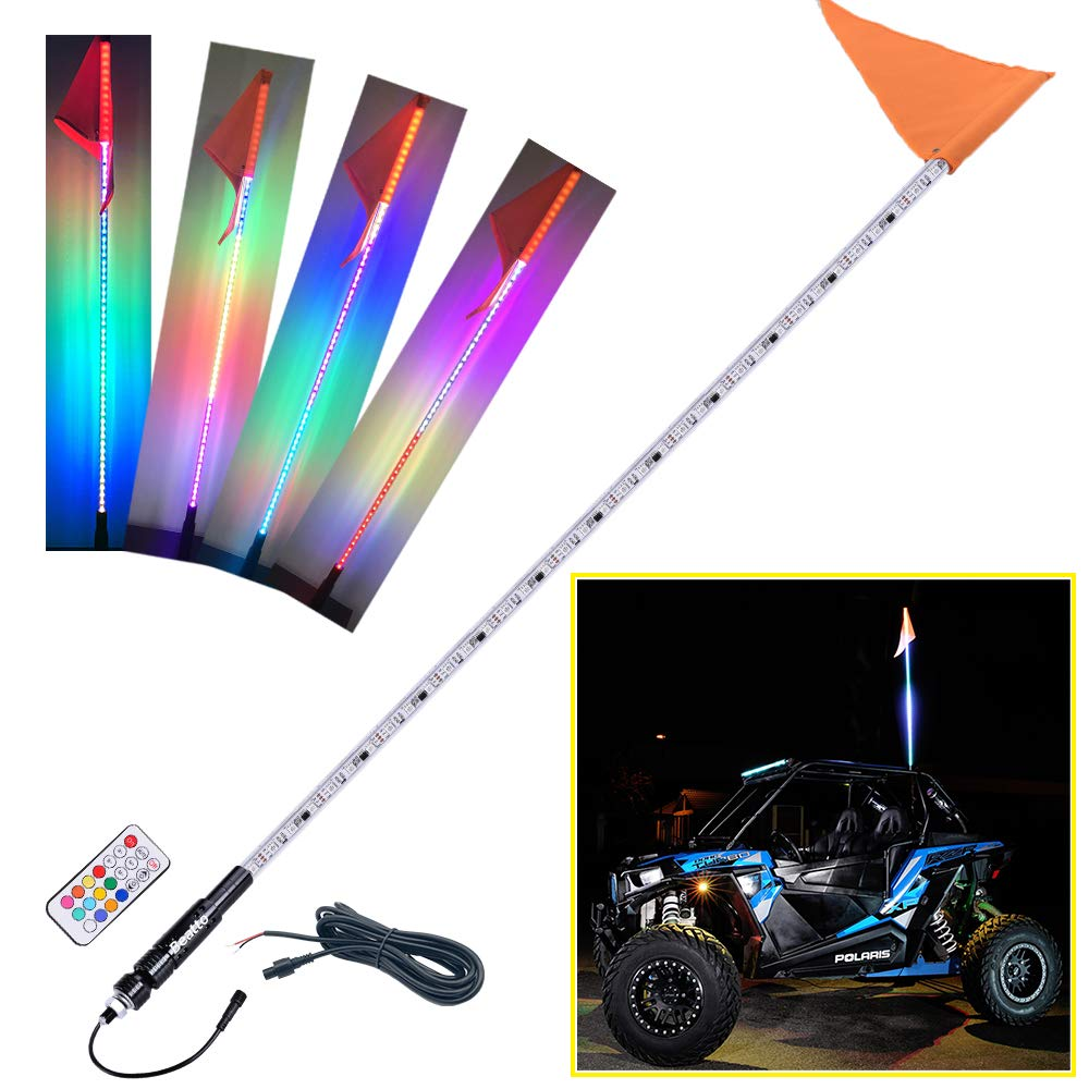 Beatto 5FT(1.5M) RF Remote Controll 360° Twisted LED Whips Light With Dacning/Chasing Light LED Antenna Light For Off- Road Vehicle ATV UTV RZR Jeep Trucks Dunes.