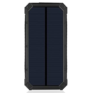 Cargador solar, energía solar Banco de la energía 20000 mAh Panel Solar batería externa con 6LED linterna Pack de baterías Dual USB cargador de ...