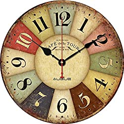 Round Wall Clock, Augue Round Wood Wall Clock Colorful France Paris Country Tuscan Style Roman Numeral Retro Quartz Movement Kitchen Home MDF Clock, 12-inches