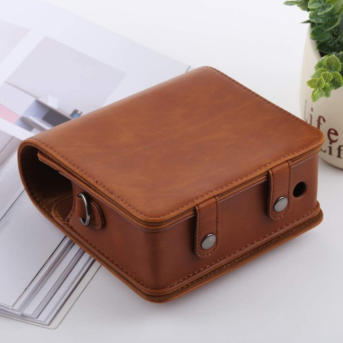 Color : Brown Retro Style Full Body Camera PU Leather Case Bag with Strap for FUJIFILM instax Square SQ6 Durable
