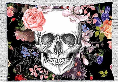 QCWN Skulls Decor Tapestry Wall Tapestry Halloween Decor Flowers and Skull Design Skeleton Art Wall Hanging for Bedroom Living Room Dorm (4, 78Wx59L)