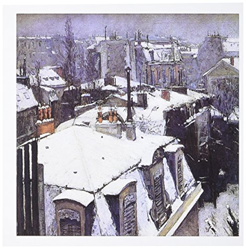 3dRose Rooftops in the Snow 1878 by Gustave Caillebotte Snowy City Scene Greeting Cards, Set of 6 (gc_173743_1)
