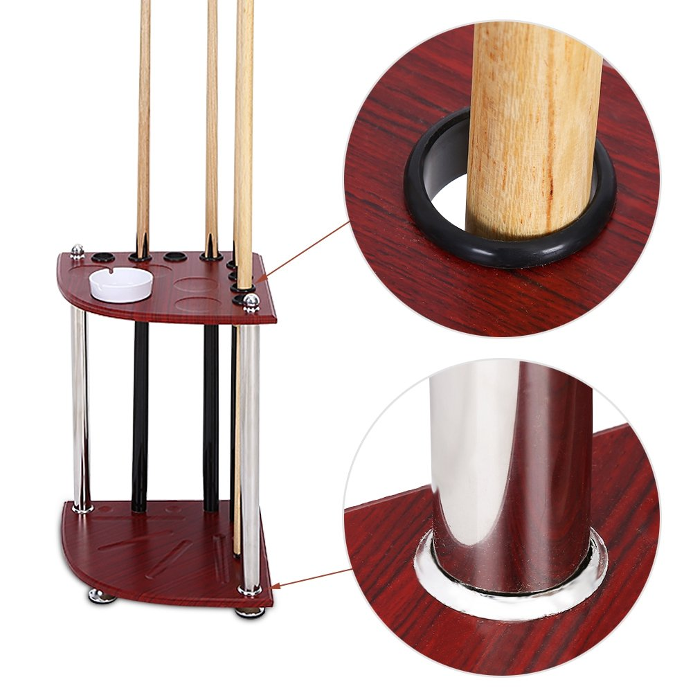 Yosoo Cue Rack, 8 Pool Cue Rack Wood Billiard Sticks Balls Storage Floor Stand with Ashtray Accessory (Cues Are Not Included)