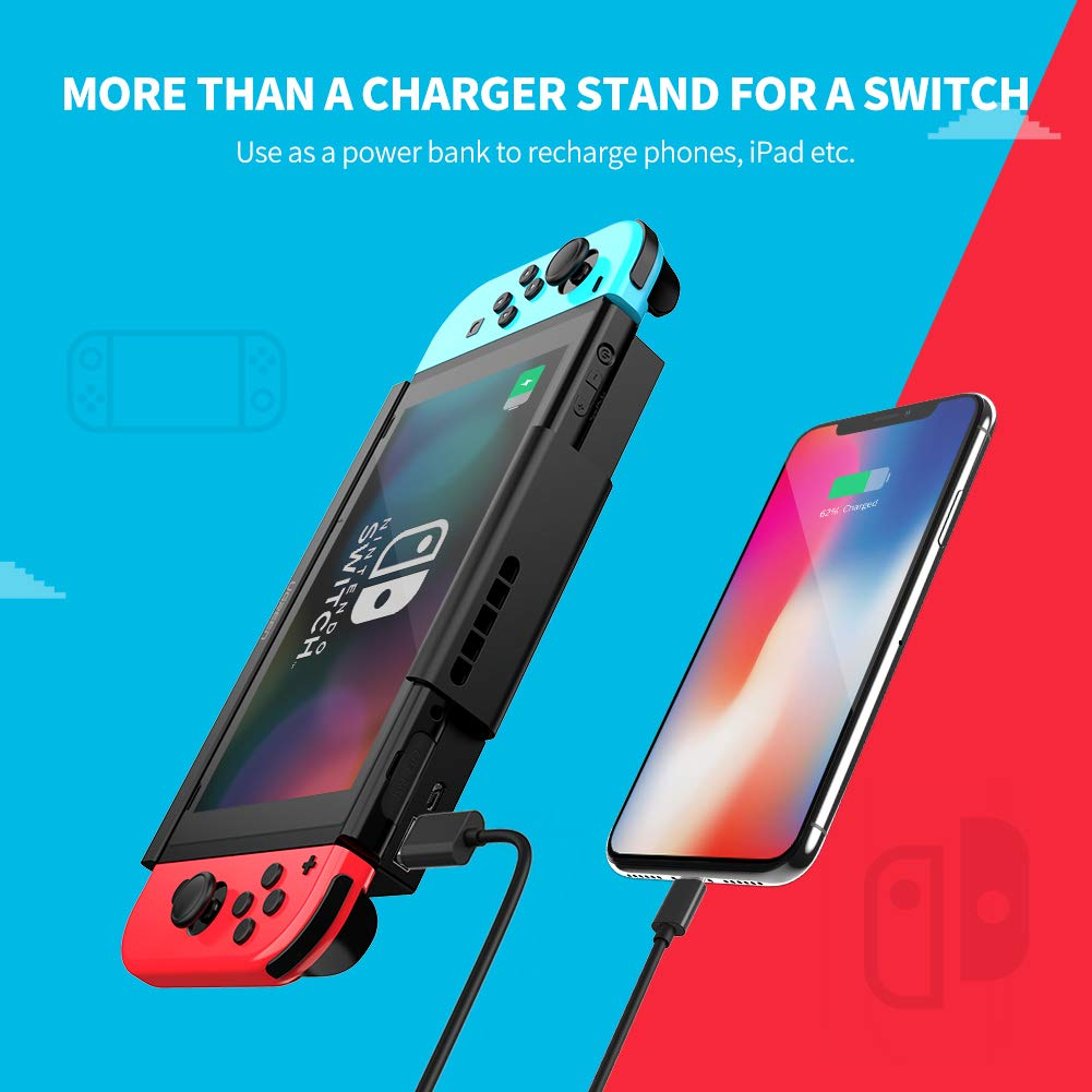 Amazon.com: UGREEN Battery Charger Case for Nintendo Switch 10000mAh Compact Rechargeable Portable Battery Pack with Kickstand, USB C Connecion 7.5W Fast ...