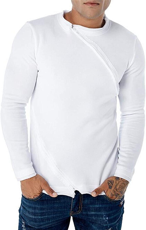 UUYUK Men Asymmetrical Double Zipper Fashion Pullover Sweatshirts