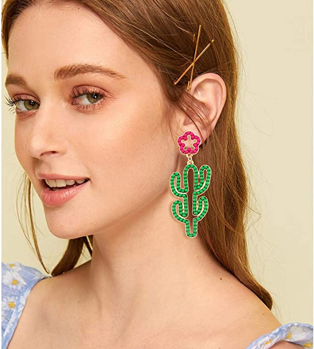 Flamingo Hand beaded seed bead earrings dangle earrings