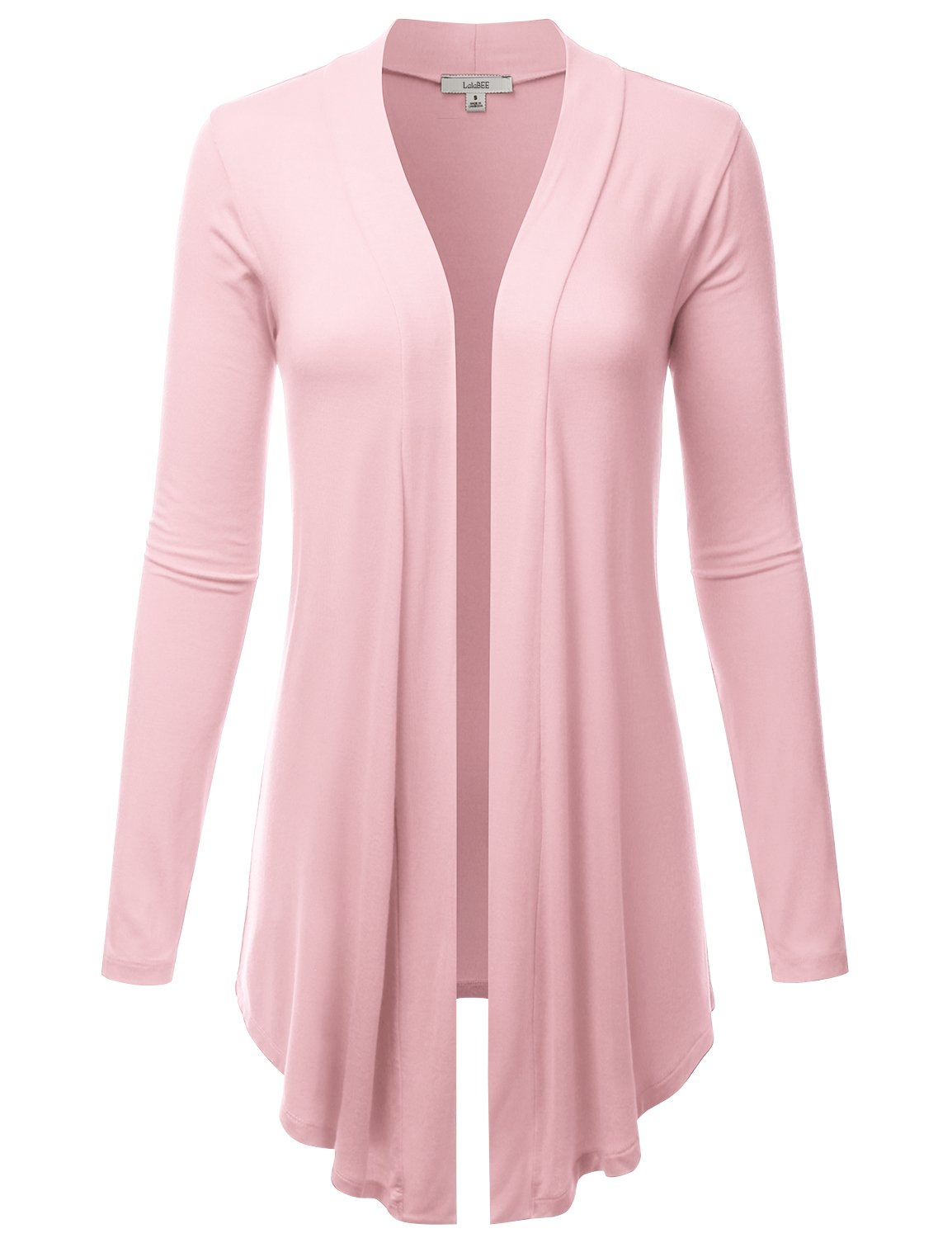 LALABEE Women's Draped Open-Front Long Sleeve Light Weight Cardigan-DPINK-S