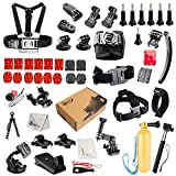 SNT Sports Camera Accessories Kit for GoPro HERO Black Silver 4 3+ 3 2 1 SJ4000/SJ5000,Accessory Bundles Kit with Chest Harness Mount / Suction Cup Mount / Selfie Stick / Folating Hand Grip