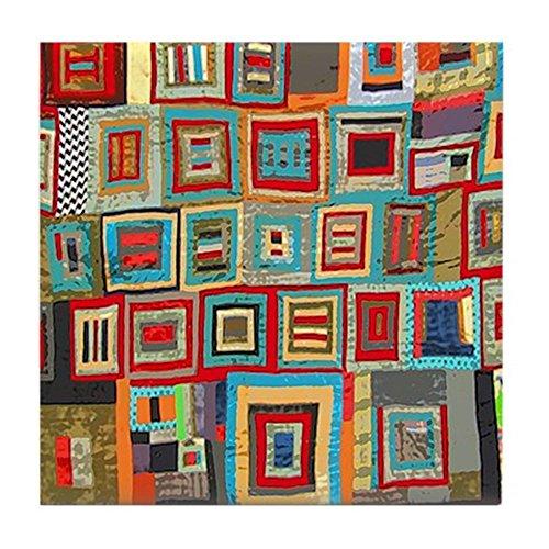 CafePress - Colorful Crazy Quilt Flip Flops - Tile Coaster, Drink Coaster, Small Trivet