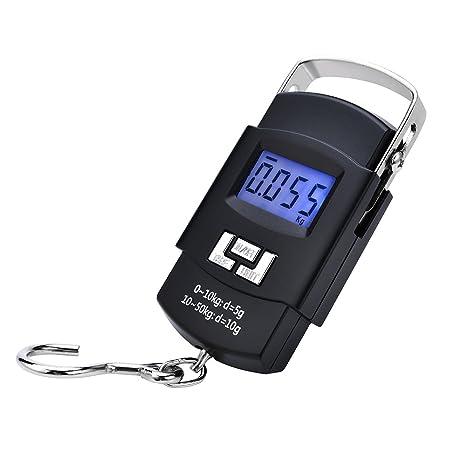 Yizhet Báscula Digital de Equipaje con Gancho 50kg/110lbs de Precisión Balanza Electrónico para Maletas Equipaje de Viaje Báscula, Cocina, ...