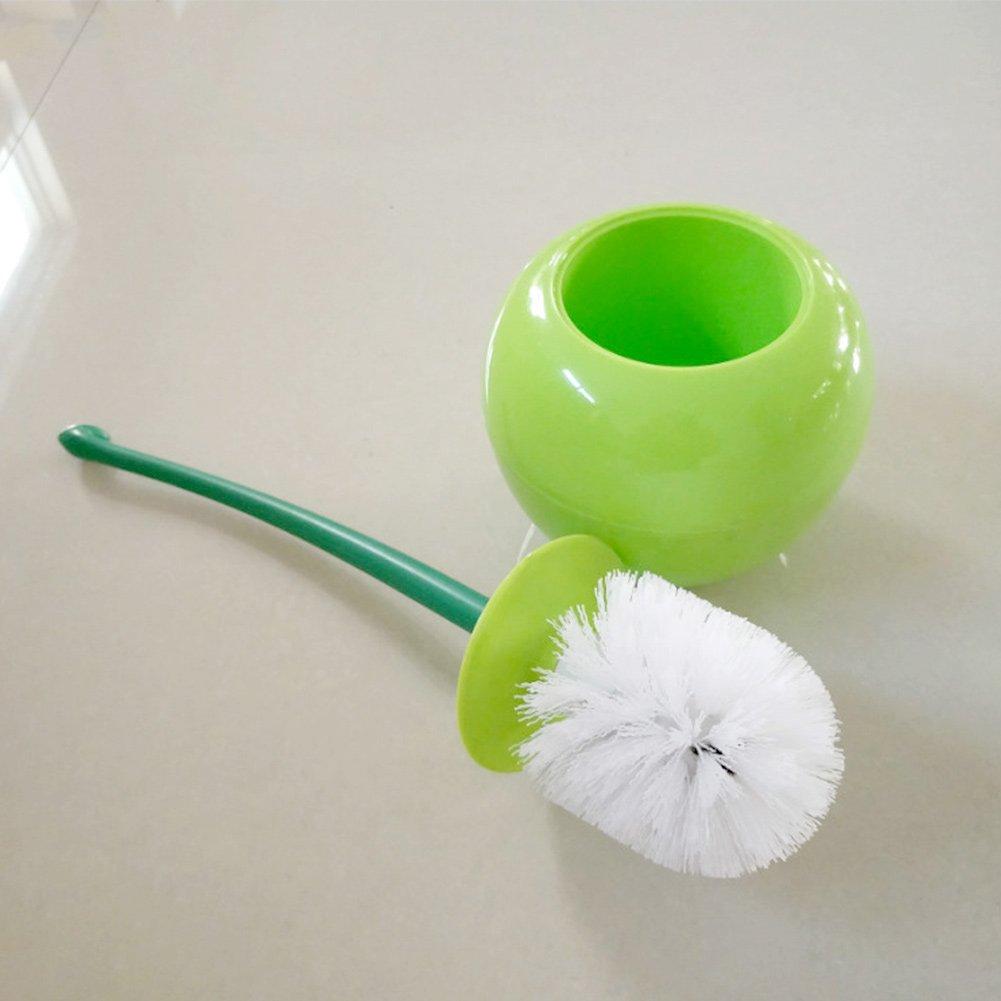 Woopower scopino Taglia libera Green lovely claret ciliegia a forma di strumento di pulizia set spazzolone per toilette con aggiunta di ricambio per spazzolone WC