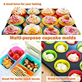 IPOW 24 Pack Silicone Cupcake Baking Cups Reusable