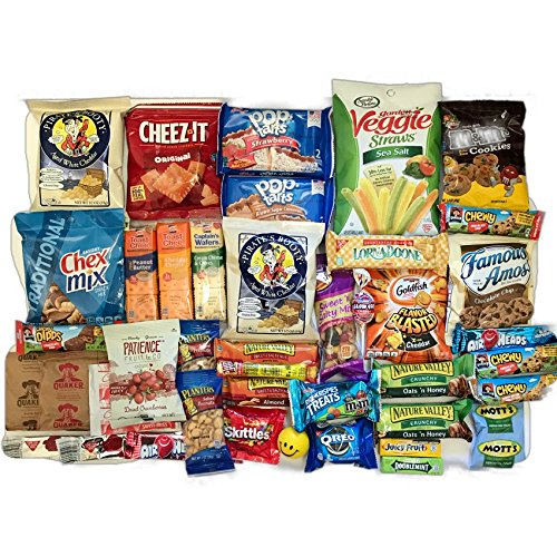 Ultimate Snack Pack Care Package Cookies, Chips & Candies Bundle Variety Sampler 40 Items College Office Military Gift Variety Assortment - Gift Selection