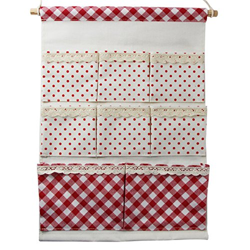 UOOOM Linen/Cotton Wall Door Cloth Hanging Polka Dots with lace Home organizer Storage Bag Case 8 Pockets (Red) by UOOOM