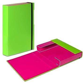 Green - Pink A4 Document Box Folder Elastic Band Storage