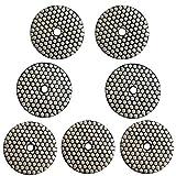 Easy Light 4 Inch Diamond Dry Polishing Pads for Granite Marble Polish (8 Pcs Set, Grit 50-3000 Buff)