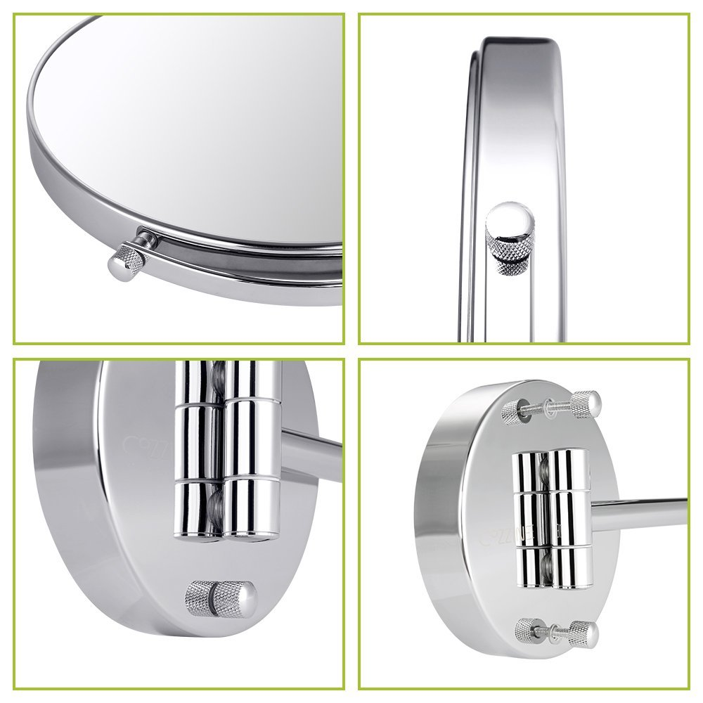 Wall Mount Makeup Vanity Mirror Cozzine Bathroom Wall Mirror 7X Magnifynng Mirror Two Side Hanging Extendable Mirror Chrome Finish