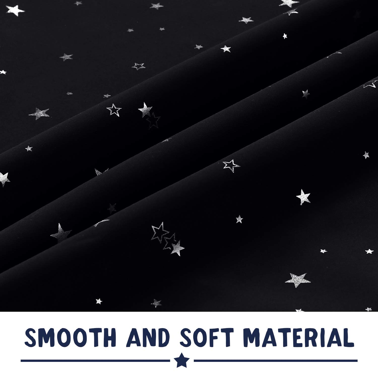 Night Sky Twinkle Stars on Black Curtains for Nursery Decoration PrinceDeco 100/% Blackout Curtains for Kids Bedroom 63 Inches Length Room Darkening Curtain Drapes with Antique Grommet Top 1 Pair