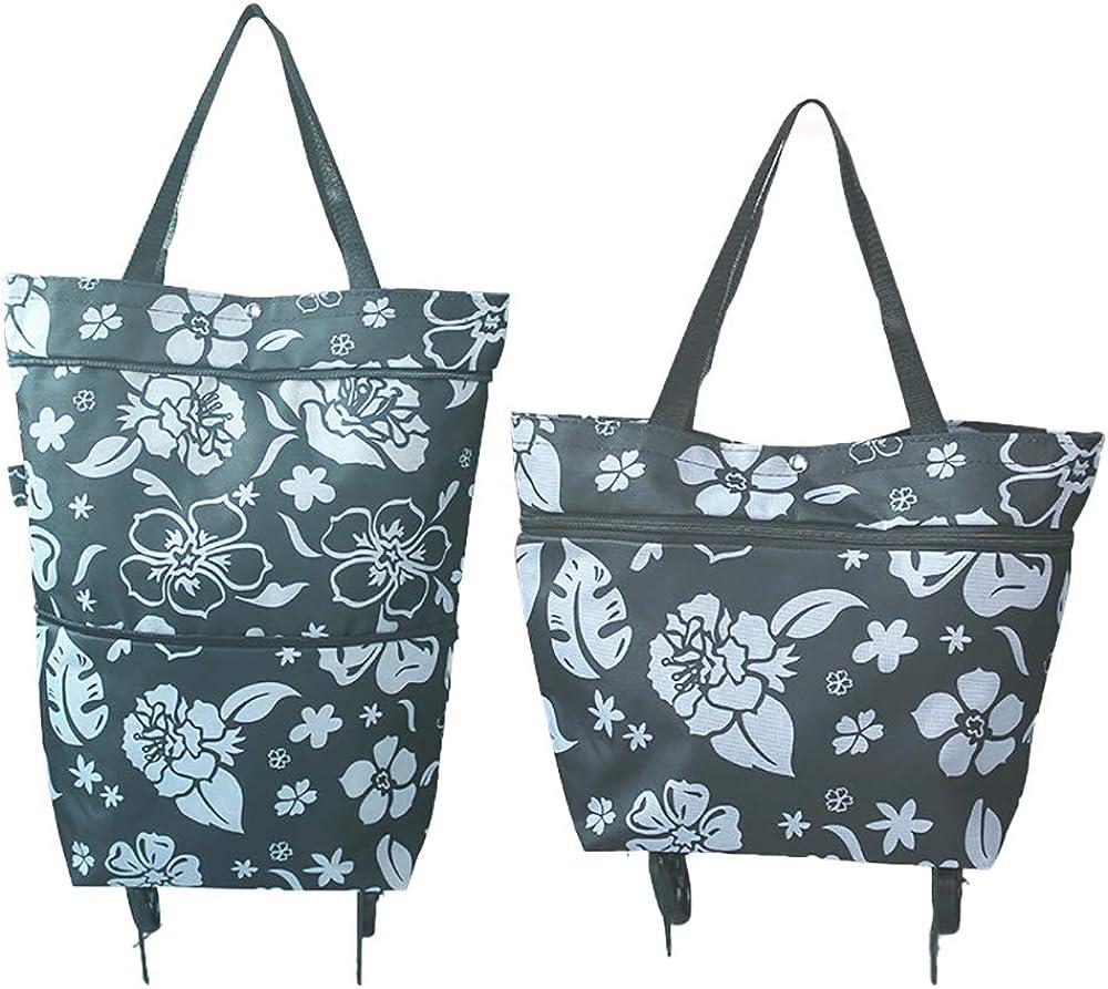 bolsa de viaje de alta resistencia bolsa de viaje de compras Toomett Bolsa de la compra plegable con ruedas bolsa plegable sobre ruedas para mujer reutilizable # 7306 multifunci/ón