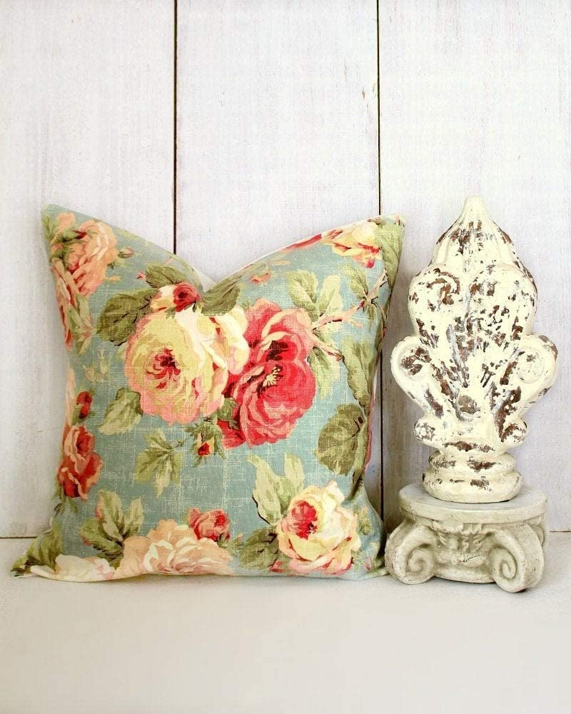 Flowershave357 Cottage Chic Pillow Cover Pink Roses Pillow Romantic Cottage Decor Aqua Pillow Cover Cabbage Roses Throw Pillow Cover