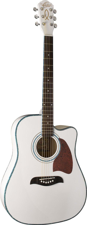 Oscar Schmidt OG2CE-WH Dreadnought Cutaway Acoustic Electric Guitar - White