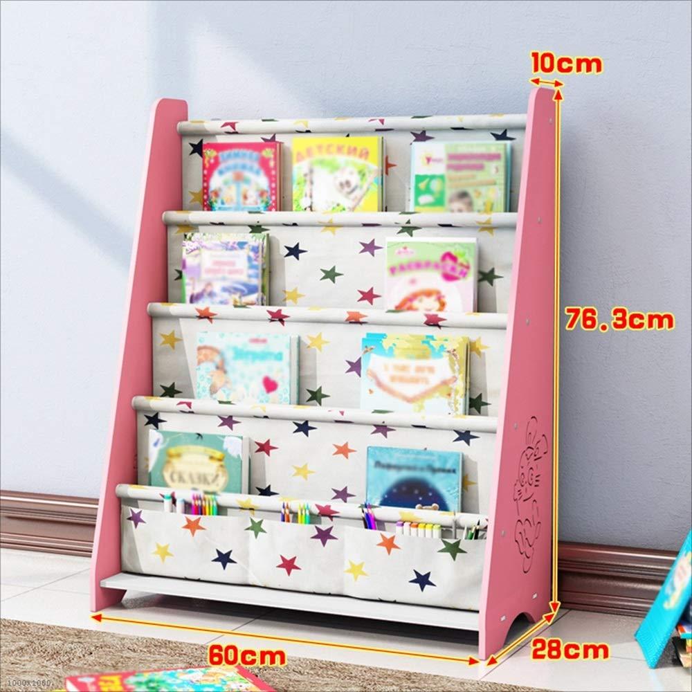 HQQ Estantería para niños Suelo Estantería Simple Estantería económica para bebés Estudiante Estantería para Libros Infantiles Estante para Libros Kindergarten (Color : Pink)