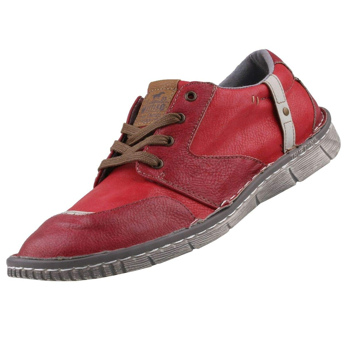 Mustang , Chaussures de Ville à Lacets pour Femme Rouge Rouge