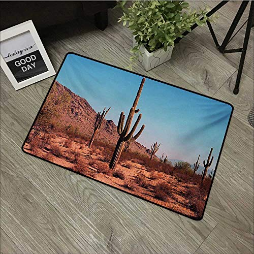 Outdoor Door mat W35 x L47 INCH Saguaro,Grown Prominent Cacti with The Spines Hardy Plants Clear Sky Landscape Picture,Brown Blue Non-Slip, with Non-Slip Backing,Non-Slip Door Mat Carpet