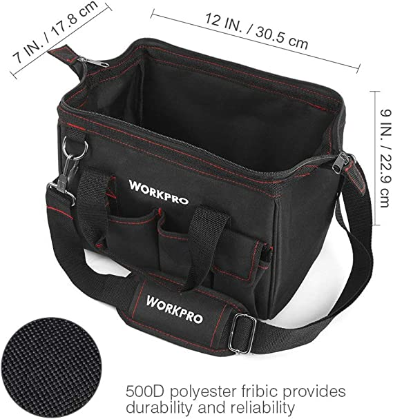 Workpro 12-Inch Close Top Wide Mouth Storage Tool Bag W081020A