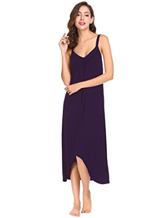 ecfd15166cdafe ZEARO Damen Unterkleider Nachthemd Baumwolle Nachtwäsche Sexy Negligee Lang  Nachtkleid
