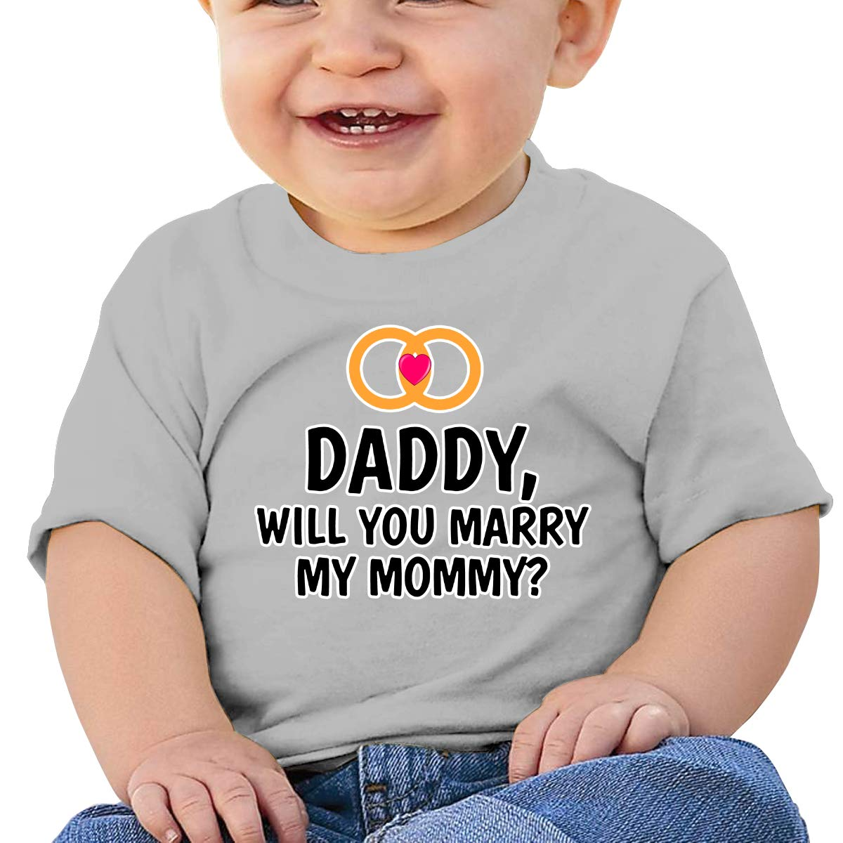 XHX403 Daddy Will You Marry My Mommy Infant Kids T Shirt Cotton Tee Toddler Baby 6-18M