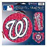 "Washington Nationals MLB Prismatic 3 Different Die Cut Magnets On Single 11"" x 11"" Sheet Magnet"