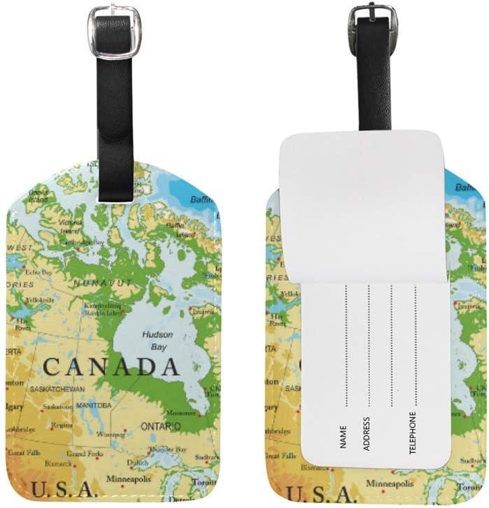 Canada Politique Carte Bagages /étiquette en Cuir ID /étiquette pour Enfants gar/çon Fille 1 pi/èce