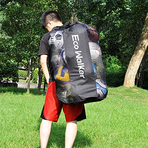 Eco Walker Ball Bag Large Capacity (Holds 16 Soccer Balls) Heavy Duty Mesh Drawstring with Adjustable Shoulder Strap and Thick Handle by Eco Walker (Image #2)