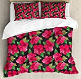 Hawaii King Size Duvet Cover Set by Ambesonne, Polka Dotted Background Hand Drawn Flower Hibiscus Polynesian Flora, Decorative 3 Piece Bedding Set with 2 Pillow Shams, Magenta Fern Green Black