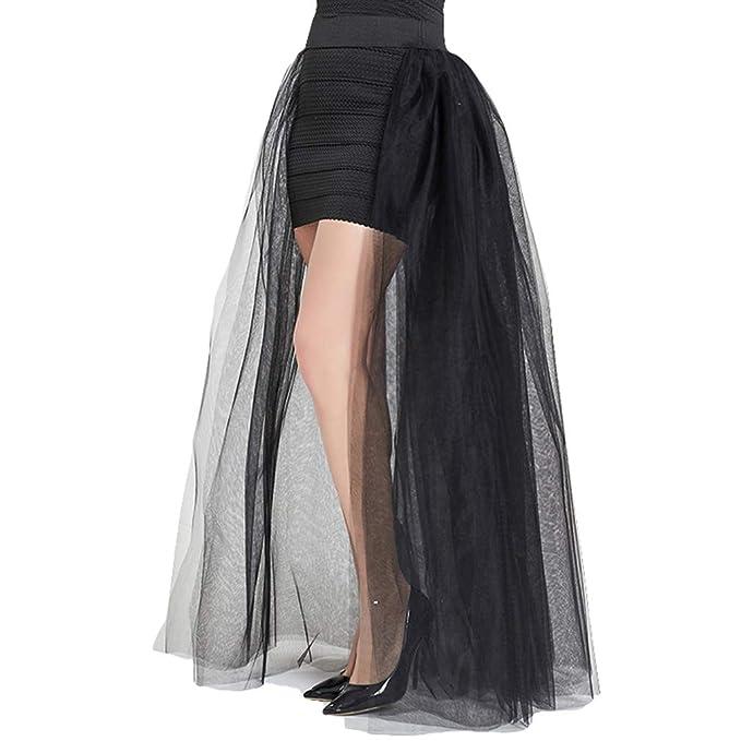 e2b61d755a Juleya 4 Capas Moda Falda de Tul Plisada Malla Desmontable Tutu Faldas  Mujeres Elegante Fiesta Boda Largo Maxi Dama Honor Overskirts  Amazon.es   Ropa y ...